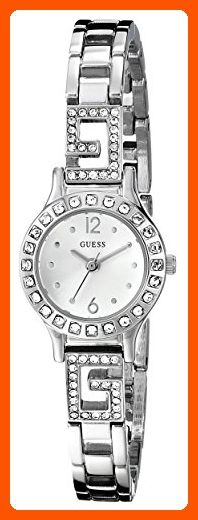 GUESS Women's U0411L1 Silver-Tone Jewelry Inspired Watch with Self-Adjustable Bracelet - All about women (*Amazon Partner-Link)