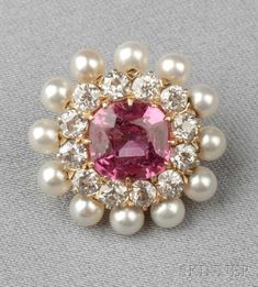 #PinkSapphire #Diamond #Pearl #Brooch #Pins #Jewellery