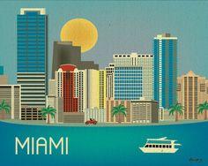 Miami, Florida Skyline - Horizontal Destination Print Poster Gift and Wall Art for Homes, Work, and Nursery - style Miami Map, Miami Florida, Art Miami, Miami Beach, Vegas Skyline, Skyline Art, City Art, Voyage Usa, Cities