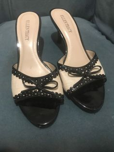 0f93b95769c2 Ellen Tracy Black And White Strapless Peep Toe Pump With Low Heel Size 7.5   fashion