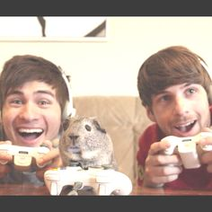 Anthony Padilla and Ian Hecox and Charlie(the drunk guinea pig)... he looks cute until u notice he is in talking guinea pig mode with a mouth :P