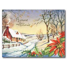 Bonne Annee, kort för nytt år för vintage franskt Vykort