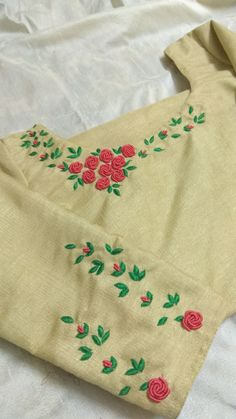 Embroidery On Kurtis, Embroidery Suits, Hand Work Embroidery, Hand Embroidery Stitches, Embroidery Fashion, Hand Embroidery Designs, Silk Ribbon Embroidery, Floral Embroidery, Dress Neck Designs