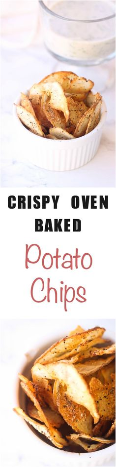Crispy Baked Potato Chips are a healthier alternative to store-bought potato chips. They are super simple to make, and highly addictive!