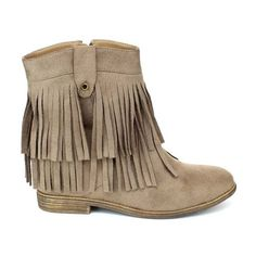 Refresh Taupe Akira Fringe Ankle Boot (24,850 KRW) ❤ liked on Polyvore featuring shoes, boots, ankle booties, ankle boots, fringe booties, taupe ankle boots, fringe bootie, faux-fur boots and fringe ankle boots