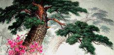 (North Korea) A Pine and Azalea by Kim Seung-hi (1939-  )