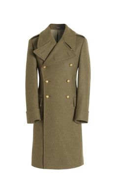 British Army Green Authentic Great Coat, Slim Fit Crombie
