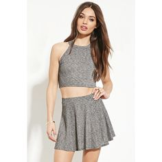 Forever 21 Women's  Marled Knit Crop Top ($8.90) ❤ liked on Polyvore featuring tops, white crop top, crop top, sleeveless tops, forever 21 and forever 21 tops