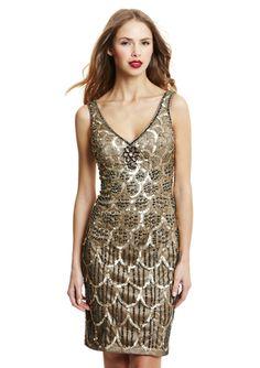 SUE WONG Scallop Pattern V-Neck Cocktail Dress