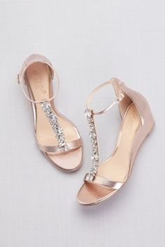 Crystal T-Strap Low Metallic Wedges Low Heel Shoes, Wedge Shoes, Shoes Sandals, Flat Sandals Outfit, T Strap Sandals, Low Heels, Wedge Sandals, Bride Shoes, Prom Shoes
