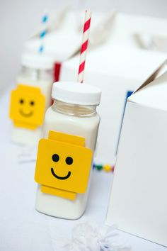 Modern Lego themed birthday party via Kara's Party Ideas : Got Milk?