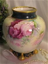 "Absolutely Magnificent PINK BURGUNDY WINE and YELLOW ROSES Once in a Lifetime Exceptional Antique Porcelain Ceramic Art Company Belleek Footed Vase Jardiniere Hand Painted Fabulous Beauty Stunning Ornate Gold Work Artist Signed ""S.H. Read ~ May 1905"""