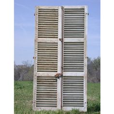 """100""""x50"""" French shutters-could be mounted on a wall as a headboard, hinged and used as a privacy screen or placed around an odd beam or bump out in a room to add instant character."""