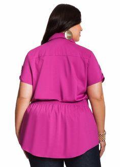Ashley Stewart Women's Plus Size Studded Faux Belt Top Wicked Berry 12