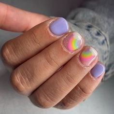 Cute Nail Art, Cute Nails, Pretty Nails, Hard Gel Nails, Rainbow Nail Art, Lilac Nails, Magic Nails, Gelish Nails, Manicure Y Pedicure