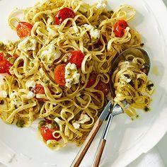 Linguine with Pesto, Cherry Tomatoes and Ricotta Cheese | MyRecipes.com