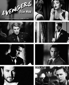 Avengers Noir...Scarlett looks stunning (as usual) and Robert and Chris Evans look so hot