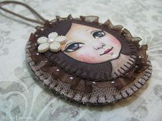 Original Hand Stitched Portrait  Painting Ornament by Lisa Lectura. $40.00, via Etsy.