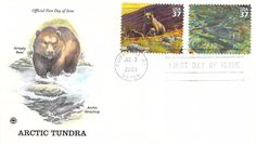 2003 Arctic Tundra Grizzly Bear Grayling Hand Colored PCS First Day Cover