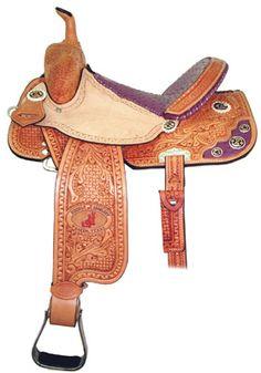 Double J Pro Barrel Racer Saddle with acorn tooling & purple ostrich details & seat.
