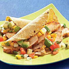 Chicken Tacos with Mango-Avocado Salsa Recipe | MyRecipes.com