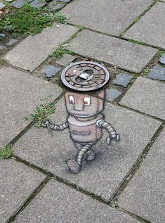 Robert likes to impress his dates with freshly devitalized vegetative structures. Murals Street Art, 3d Street Art, Amazing Street Art, Street Art Graffiti, Graffiti Artists, 3d Sidewalk Art, Urbane Kunst, Chalk Drawings, Illusion Art