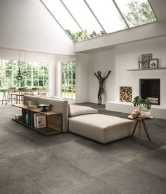 Discover recipes, home ideas, style inspiration and other ideas to try. Living Room Tiles, Tile Floor Living Room, Concrete Tiles Kitchen, House Flooring, Concrete Floors, House Interior, Concrete Floors Living Room, Grey Tiles Living Room, Interior Design Bedroom