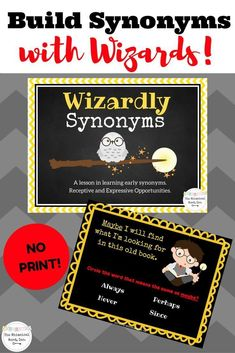 Wizardly Synonyms is perfect for your teletherapy platform or digital device. 25 pairs of synonyms taught, and both receptive and expressive opportunities. NO PRINT and NO PREP!