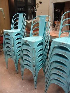 French Vintage Tolix A Chairs, Old Blue Paint   Traditional   Chairs    Antiquaire Online