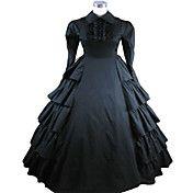 Long Sleeve Floor-length Black Terylene Victo... – USD $ 99.99