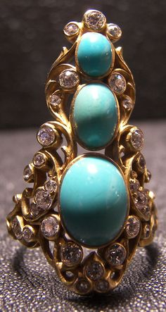 Victorian Turquoise in yellow gold ring