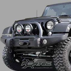 AEV Premium Front Bumper with Center Hoop in Textured Black for 07-16 Jeep Wrangler JK & JK Unlimited