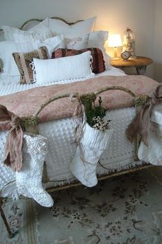 The Christmas bed-so cozy All the kids would rush in on Christmas morning to see what St. Nick put in their socks. Lovely.
