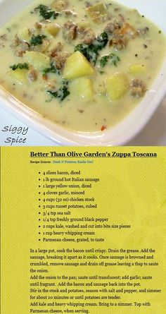 * Better than Olive Garden's Zuppa Toscana - recipe, soup, Italian, delicious, food, potatoes, kale, sausage, bacon, onion, chicken, cream, parmesan cheese