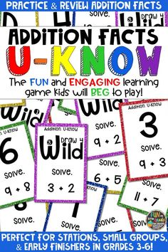 Students love playing this U-Know game for fun REVIEW of addition facts or for test prep. It's a perfect activity for any small group or station, and great for early finishers. Addition Facts U-Know is a fun learning game played similar to UNO except if you get an answer wrong, you have to draw two! Students will beg to practice addition facts in this way and it will help them with their fact fluency! Available in MANY other topics, too!