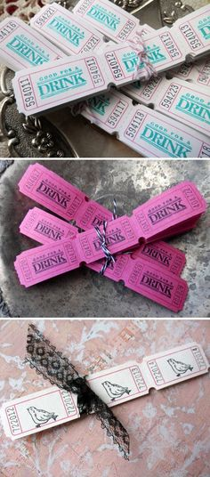 Wedding Drink Tickets - perfect for ensuring everyone gets a drink when you have a tab!