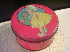 Sweet Vintage Small Tin Box 1920s Raspberry Pink Little Girl Toddler Roses