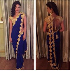 Priyanka chopra in saree photos at Salman's sister wedding ceremony. The pear shaped beauty was awesome in Abu jani sandeep khosla blue saree, backcless. Priyanka Chopra Saree, Bollywood Saree, Bollywood Fashion, Sonam Kapoor, Indian Attire, Indian Wear, Indian Dresses, Indian Outfits, Desi Clothes
