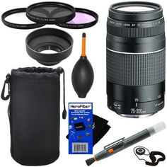 Canon EF 75300mm f456 III Telephoto Zoom Lens for Canon EOS series of Digital SLR Cameras  10pc Bundle Deluxe Accessory Kit * Find out more about the great product at the image link.  This is Amazon affiliate link. #CameraAccessories