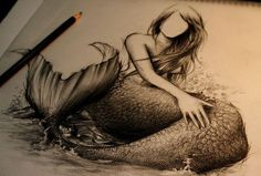 mermaid pin up tattoo | drawing pretty mermaid mermaid sketch sketch pencil. Gorgeous. Would never tattoo it though