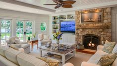 Homebuilders on Cape Cod: Paradise Cove - Polhemus Savery DaSilva Coastal Living Rooms, Home Living Room, Nantucket Cottage, Family Room Addition, My Dream Home, Dream Homes, Ship Lap Walls, House Layouts, Cottage Homes