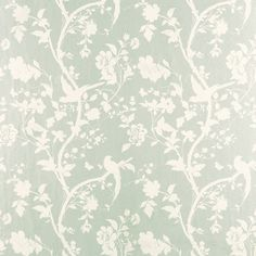 Oriental Garden Eau De Nil Floral Wallpaper An elegant archive depiction of beautiful silhouetted birds and butterflies in an exotic garden setting printed on washable wallpaper, suitable for all interiors including well ventilated kitchens and bathrooms. £17.10 per Roll was £38.00