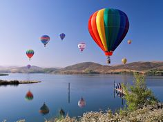 Image detail for -Hot Air Balloons, colourful, mountains, reflection, water