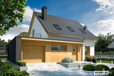 Projekt domu E14 G1 ECONOMIC - wizualizacja frontowa Good House, Design Case, Habitats, Ideas Para, Gazebo, Villa, House Design, Mansions, House Styles