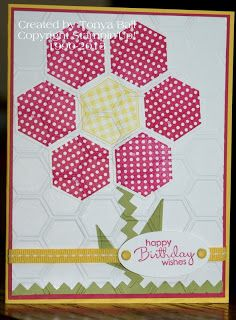 Stampin' With Tonya today we are featuring the hexagons from Stampin'UP! I used the Six-Sided Sampler Stamp Set and hexagon punch as well as the honeycomb embossing folder to create this bright and cheery birthday card. I hope you enjoy it.