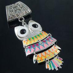 So cute!!!! MultiColor Enamel Owl Scarf by AzanteDesigns, $15.00