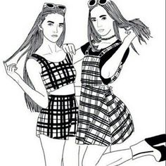 two friends png black and white transparent two friends black - two best friends drawing Tumblr Outline Drawings, Tumblr Girl Drawing, Bff Drawings, Tumblr Art, Hipster Drawings, Friends Drawing, Best Friend Drawings, Marinette E Adrien, Girl Outlines