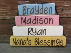 Grandma Nana Gift Mothers Day Block Set Papa Mom Dad Fathers Day Blessings Gift by DaisyBlossomCreation