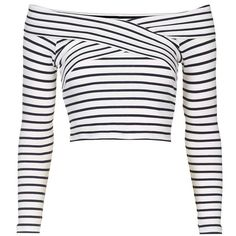 Petite Topshop Stripe Off the Shoulder Crop Top ($38) ❤ liked on Polyvore featuring tops, shirts, crop tops, long sleeves, striped crop top, ribbed crop top, crop top, long-sleeve shirt and long sleeve tops
