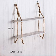 Household goods 2 Tiers Solid Wood Hemp Rope Shelf Wall Hanging Living Room Creative Simple Wall Decorations Storage Rack -CRS-ZBBZ ( Color : #3 )